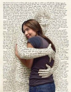 Woman being embraced by book